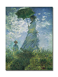 Hand-painted Oil Painting Madam Monet and Her son by Claude Monet with Stretched Frame