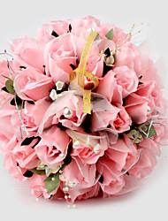 Elegant Pink Round Wedding Bouquet/ Bridal Bouquet With Chiffon Beads Decoration