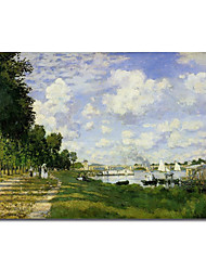 Hand-painted Oil Painting The Basin at Argenteuil by Claude Monet with Stretched Frame