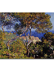 Hand-painted Bordighera Oil Painting by Claude Monet with Stretched Frame