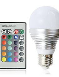 E27 3W 16-Color Changing Light LED Ball Bulb with Remote Control (110-240V)
