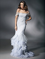 TS Couture® Prom / Formal Evening Dress - Silver Plus Sizes / Petite Trumpet/Mermaid Off-the-shoulder / Sweetheart Sweep/Brush Train Tulle / Lace