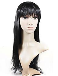Capless extra lange hochwertigem Kunststoff natürlichen Look schwarz glattes Haar Perücke (0988-ns005)