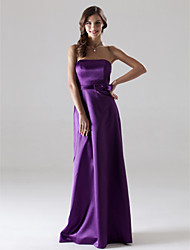 Floor-length Stretch Satin Bridesmaid Dress - Regency Plus Sizes Sheath/Column Strapless