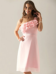 Lanting Bride® Knee-length Chiffon Bridesmaid Dress - Sheath / Column One Shoulder Plus Size / Petite with Side Draping