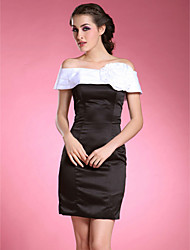 Sheath/Column Off-the-shoulder Short/Mini Satin Taffeta Mother of the Bride Dress