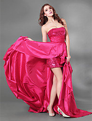 Homecoming Cocktail Party/Formal Evening/Military Ball Dress - Fuchsia Plus Sizes A-line Strapless Court Train Sequined/Taffeta