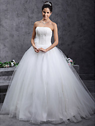 Ball Gown Strapless Floor Length Tulle Wedding Dress with Beading Flower by LAN TING BRIDE®