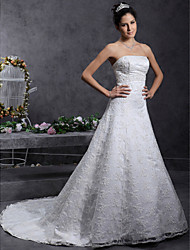 A-line Princess Strapless Court Train Lace Wedding Dress with Beading Lace by LAN TING BRIDE®
