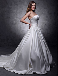 Lanting Ball Gown Strapless Chapel Train Satin Wedding Dress
