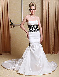 Lanting Trumpet/Mermaid Wedding Dress - Ivory Chapel Train Strapless Taffeta