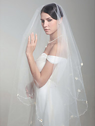 One Layer Beautiful Fingertip Wedding Veil