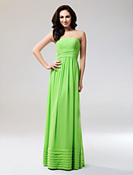 Sheath / Column Strapless Floor Length Chiffon Prom Formal Evening Military Ball Dress with Draping Ruching Ruffles