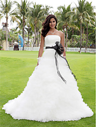 Lanting Ball Gown Plus Sizes Wedding Dress - Ivory Chapel Train Strapless Satin/Tulle