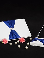 Splendor Wedding Guest Book and Pen Set With Royal Blue Sash Sign In Book