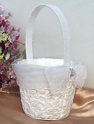 White Flower Basket With Sparking Entwined Embroidery Flower Girl Basket