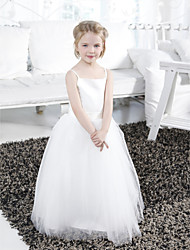 Ball Gown Floor-length Flower Girl Dress - Satin Tulle Spaghetti Straps with Draping Ruffles Sash / Ribbon