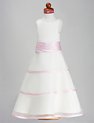 LAN TING BRIDE A-line Princess Floor-length Flower Girl Dress - Organza Satin Scoop with Flower(s) Sash / Ribbon Ruching