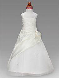 Lanting Bride ® A-line / Princess Floor-length Flower Girl Dress - Satin / Tulle Sleeveless Spaghetti Straps
