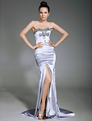 Formal Evening Dress - Silver Plus Sizes Sheath/Column Strapless/Sweetheart Sweep/Brush Train Stretch Satin