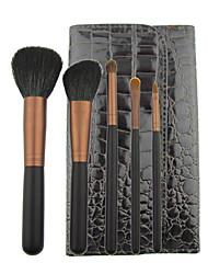 New 5 Pcs Mini Starter Makeup Brush Kit with Free Pouch
