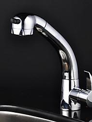 Chrome Single Handle Centerset Pull out kitchen faucet