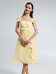 A-Line Straps Knee Length Chiffon Bridesmaid Dress with Draping Ruffles by LAN TING BRIDE®