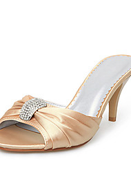 Satin Upper Stiletto Heel Slippers With Rhinestone Wedding Bridal Shoes