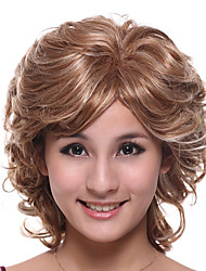 Capless Medium Length High Quality Synthetic Blonde With Light Blonde Curly Hair Wig