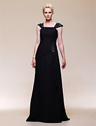 A-line Off-the-shoulder Floor-length Chiffon Evening Dress