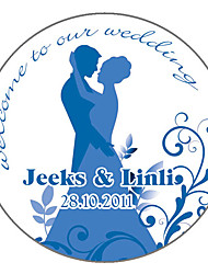 Personalized Favor Stickers - Bride and Groom (pack of 90)