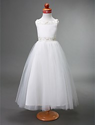 Lanting Bride A-line / Princess Floor-length Flower Girl Dress - Satin / Tulle Sleeveless Bateau with Beading / Draping