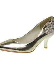 Elegant Leatherette Upper Low Heel Closed Toe With Rhinestone Beading Wedding/ Party Shoes