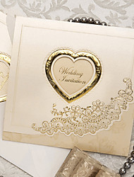 Sample Classic Luxury Folded Wedding Invitation With Heart Cutout (One Set)