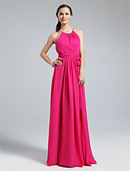 Lanting Bride® Floor-length Chiffon Bridesmaid Dress - Sheath / Column Jewel Plus Size / Petite with Sash / Ribbon / Ruching / Pleats