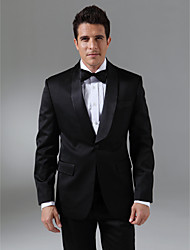 Tuxedos Tailored Fit Shawl Collar Single Breasted One-button Wool & Polyester Blended Solid 2 Pieces
