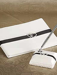 Deluxe Loving Hearts Wedding Guest Book And Pen Set Sign In Book