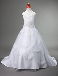 A-line Ball Gown Princess Court Train Flower Girl Dress - Satin Tulle Sweetheart Straps with Appliques