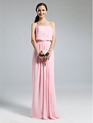 Lanting Bride® Floor-length Chiffon Bridesmaid Dress - Sheath / Column Strapless Plus Size / Petite with Pleats