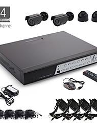 4CH CCTV kit + 2pcs noir caméra dôme + 2pcs noir caméra étanche + 500GB HDD