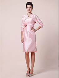 Sheath / Column Plus Size / Petite Mother of the Bride Dress - Wrap Included Knee-length 3/4 Length Sleeve Taffeta withBeading /