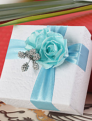 Square Favor Box With Blue Rose (Set of 12)