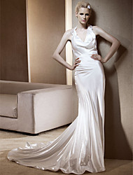 Lanting Sheath/Column Halter Chapel Train Elastic Woven Satin Wedding Dress