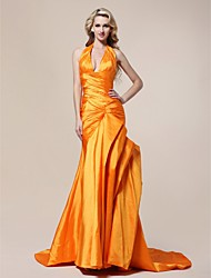 Taffeta Trumpet/ Mermaid Halter V-neck Court Train Evening Dress inspired by Jennifer Hudson at the 83rd Oscar
