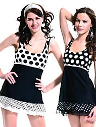 Youmena New Dots Fashion Round Neck Design One Piece Skirt Swimsuit Spandex Female Swimwear