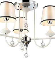40W Crystal Chandelier with 3 Lights - Fabric Lampshade