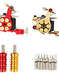 Kit de 2 Pistolets de Tatouage en Fonte à Alimentation LCD et 40 Cartouches d'Encre Couleur
