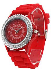 Damen Modeuhr Armbanduhr Quartz Band Rot Rot