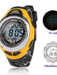 Wasserdichte Kaltlicht-Uhr mit Chronograph, Kalender und Alarm - Schwarz