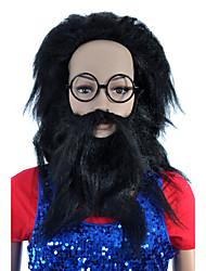 Capless Long High Quality Synthetic Black Shaggy With A Beard Festival Hair Wig